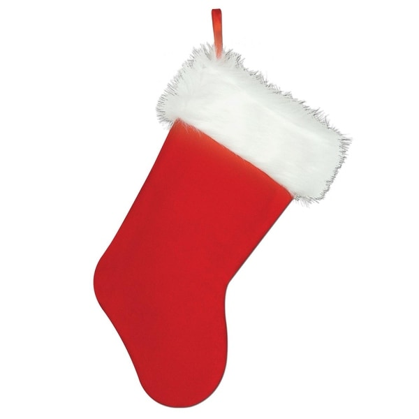 Club Pack of 12 Traditional Style Plush Red and White Christmas Stockings 15""