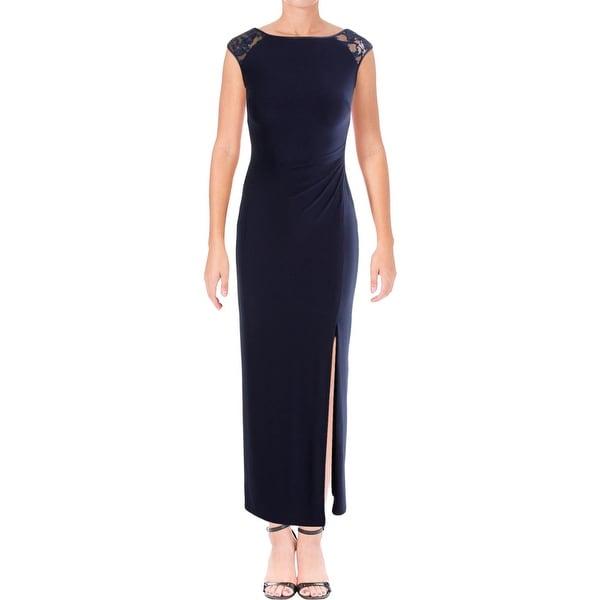 Lauren Ralph Womens Pees Dulcenetta Evening Dress Sequin Ruched
