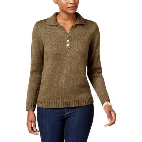 Karen Scott Womens Petites Pullover Sweater Long Sleeves 1/4 Placket - PS