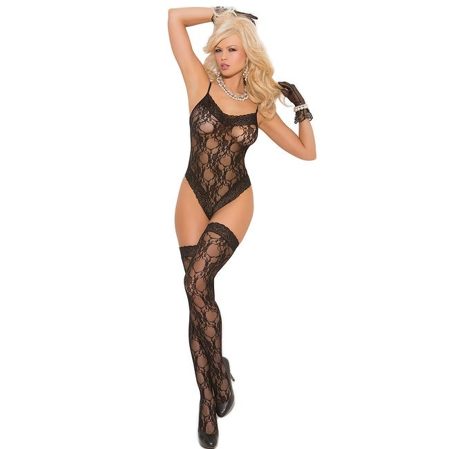 Black Lace Teddy and Thigh Highs - One Size Fits Most