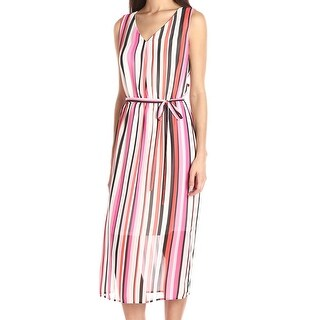Nine West NEW White Womens Size 8 Striped Belted V-Neck Maxi Dress