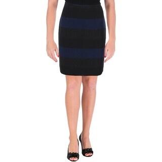 Tahari ASL Womens Petites Pencil Skirt Striped Knee Length