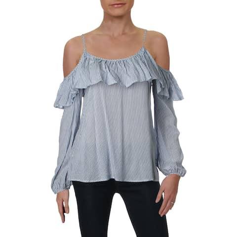 Aqua Womens Pullover Top Cold Shoulder Striped