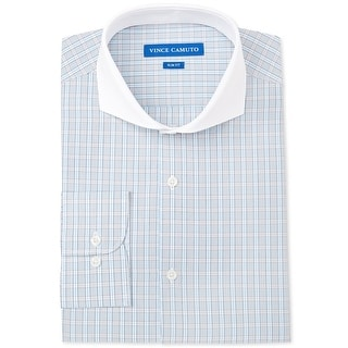 """Link to Vince Camuto Mens Check Button Up Dress Shirt, blue, 15"""" Neck 32""""-33"""" Sleeve - 15"""" Neck 32""""-33"""" Sleeve Similar Items in Shirts"""