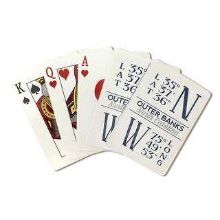 Outer Banks NC - Latitude & Longitude - LP Artwork (Poker Playing Cards Deck)