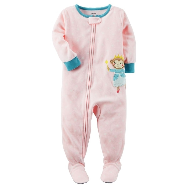 a4d35fa68 Shop Carter's Baby Girls' 1-Piece Monkey Fleece Pajamas, 24 Months - Free  Shipping On Orders Over $45 - Overstock.com - 18303481