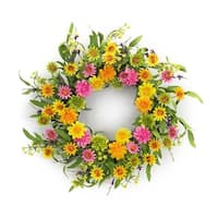 Pack of 4 Bright Pink and Yellow Springtime Artificial Zinnia Floral Wreaths 22""