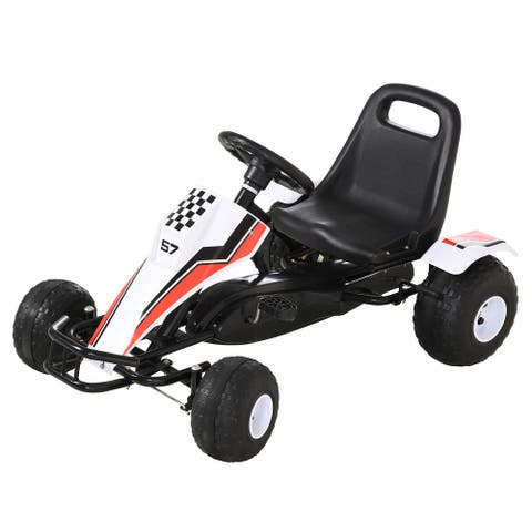 Aosom Pedal Go Kart Children Ride on Car with Adjustable Seat, Plastic Wheels, Handbrake and Shift Lever, White