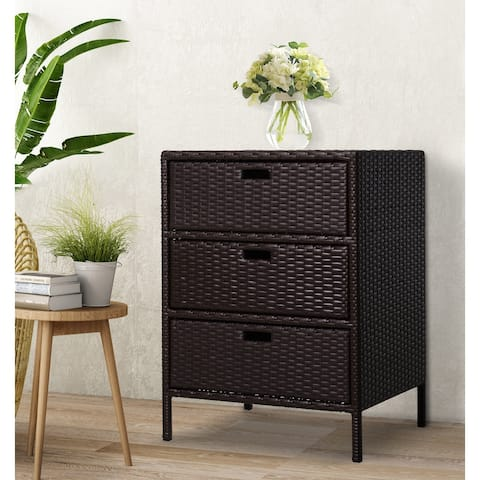 """Outsunny 32"""" Poolside Rattan Wicker Patio Organizer Storage Cabinet with 3 Large Drawers & Weather-Fighting Materials"""