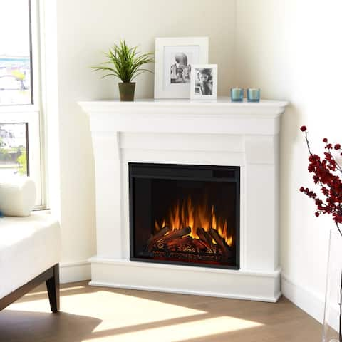 Chateau White Electric Corner Fireplace - 40.94L x25.28W x 37.6H
