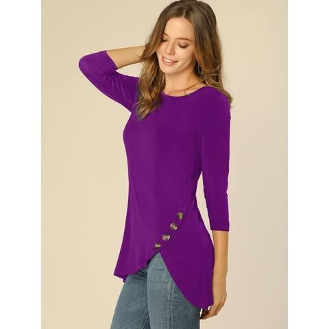 Allegra K Women's 3/4 Sleeve Casual Asymmetric Hem Stretchy Tunic Top