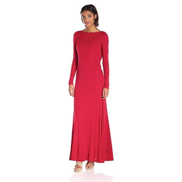 Vera Wang Rayon Jersey Long Sleeve Maxi Dress