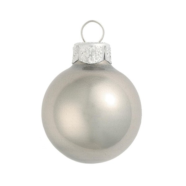 "28ct Metallic Silver Glass Ball Christmas Ornaments 2"" (50mm)"