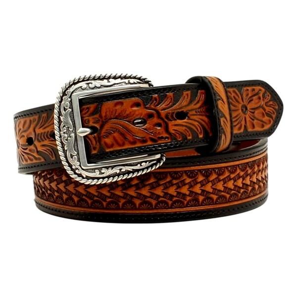 Ariat Western Belt Mens Tooled Floral Basket weave Black Tan