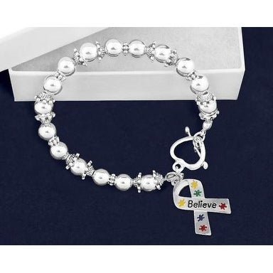 Believe Puzzle Piece Ribbon Beaded Bracelet for Heart Disease Awareness - Silver