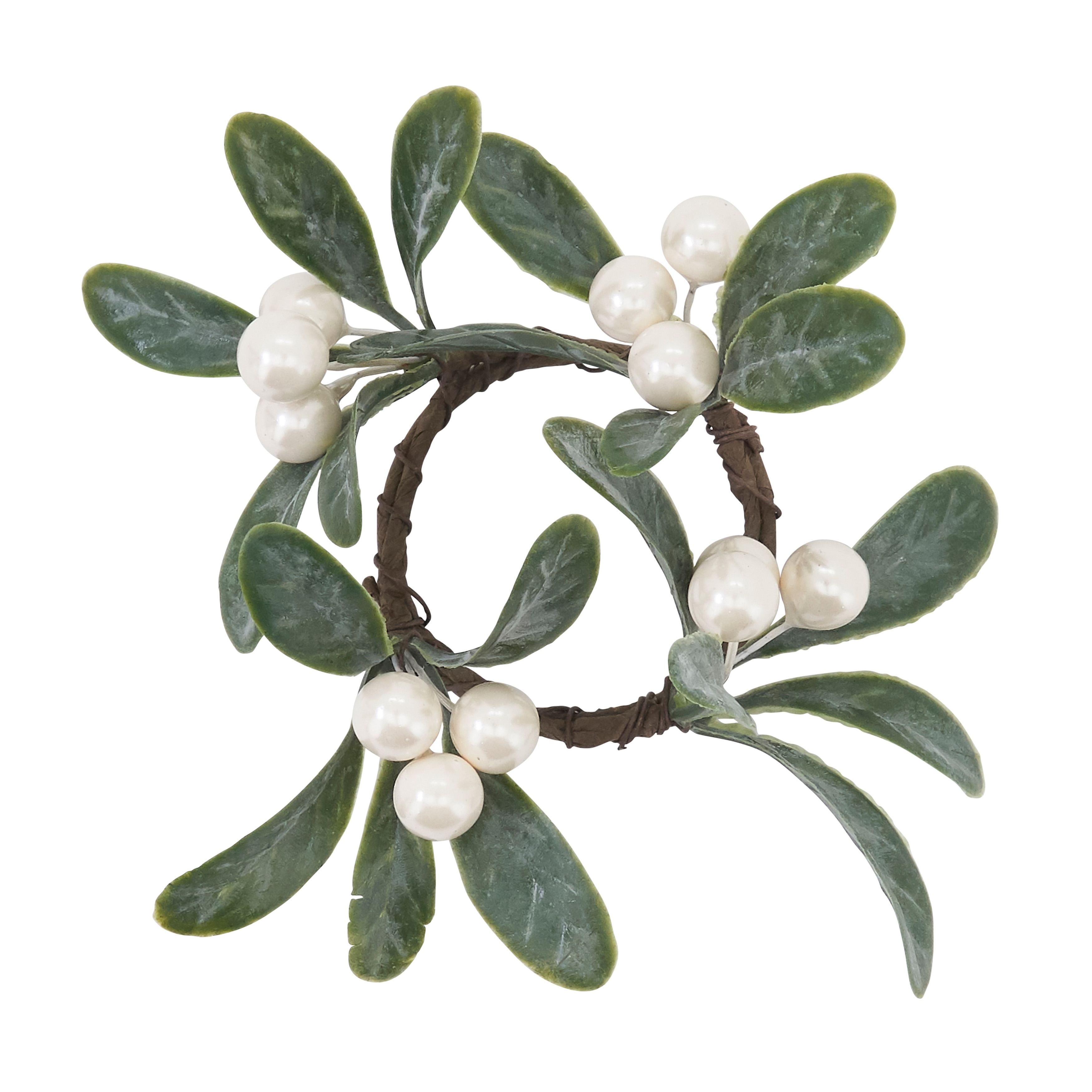 Holiday Napkin Rings With Mistletoe Design Set Of 4 Overstock 31431359