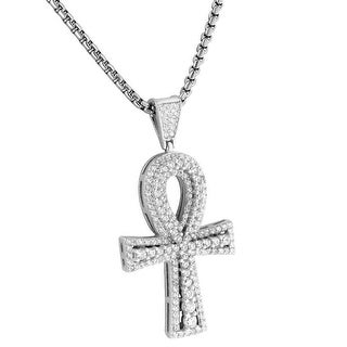 Solitaire Ankh Cross Pendant Necklace Set Lab Diamonds Sterling Silver