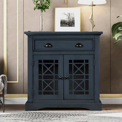 Antique Navy Storage Cabinet wih Doors and Big Wood Drawer