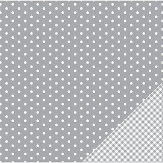 """American Crafts Basics Double-Sided Cardstock 12""""X12""""-Gray Dot - gray"""
