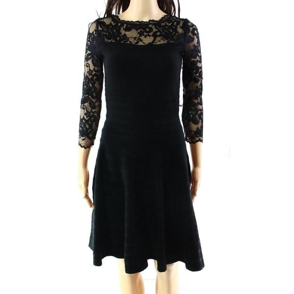 Shop Ivanka Trump New Black Lace Womens Size Large L Stripe Sweater