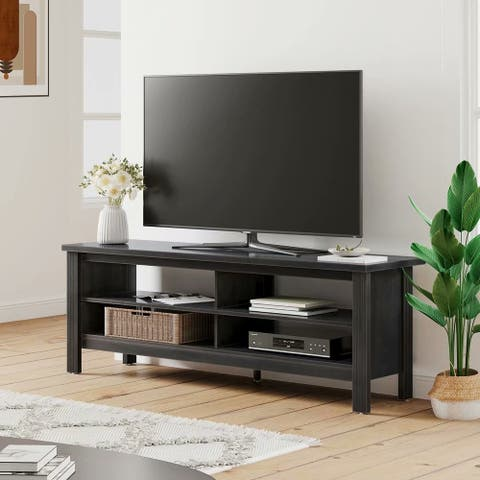 Farmhouse TV Stand Entettainment Center Black/ Espresso (43-60'')