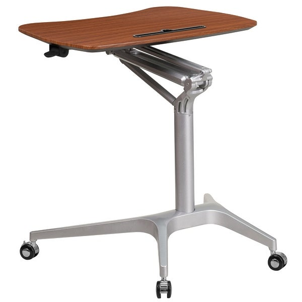 """41"""" Brown Mahogany Mobile Sit-Down, Stand-Up Computer Ergonomic Desk with 28.25""""W Top (Adjustable Range 29"""" - 41"""") - N/A"""