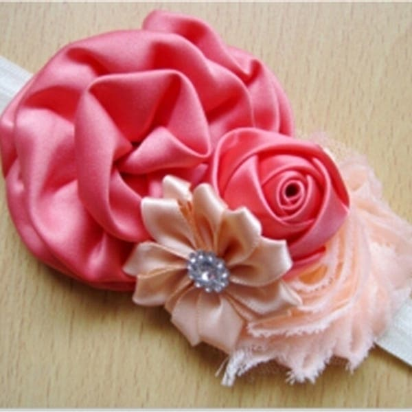 14-24cmColorful Baby Girls Chiffon Flower Headband Hair Band Headwear Accessories 10 Pcs