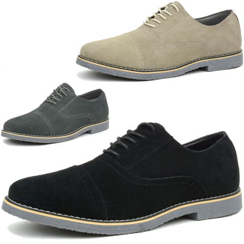 Alpine Swiss Aston Mens Lace Up Oxfords Genuine Suede Cap Toe Formal Dress Shoes