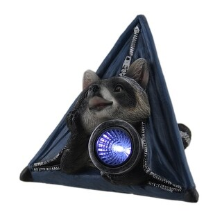 Critter Camp Raccoon In Tent LED Solar Light Statue