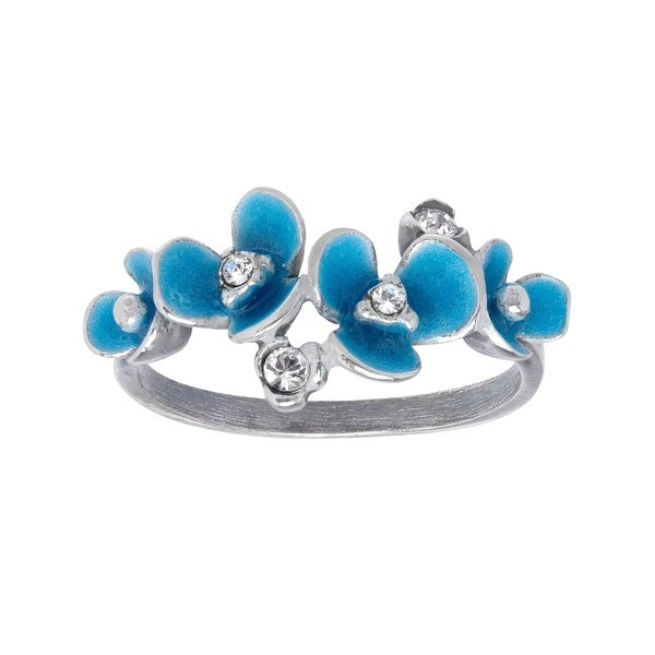 Van Kempen Art Deco Flower Ring with Swarovski Elements Crystals in Sterling Silver - White