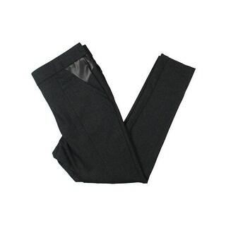 Michel Studio Womens Taylor Dress Pants Faux Leather Panel Skinny Leg