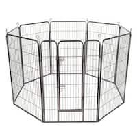 Costway 48'' 8 Panel Pet Puppy Dog Playpen Door Exercise Kennel Fence Metal