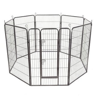 Costway 48'' 8 Panel Pet Puppy Dog Playpen Door Exercise Kennel Fence Metal