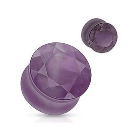 Amethyst Faceted Gem Cut Semi Precious Stone Double Flared Plug (Sold Individually)
