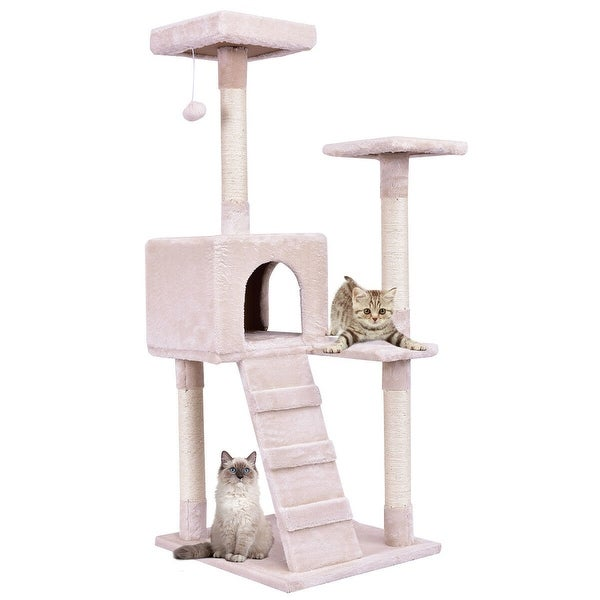 2824bfcacedd Shop Gymax Beige 52'' Cat Tree Tower Condo Furniture Scratching Post ...