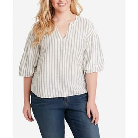 Jessica Simpson Women's Top White Size 2X Plus Knit Bubble-Sleeve