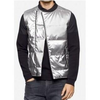 Calvin Klein NEW Silver Mens Size Large L Slim-Fit Quilted Vest Jacket