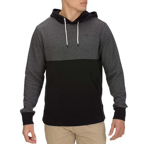 Hurley Mens Sweater Black Gray Size 2XL Crone Fleece Colorblock Hooded