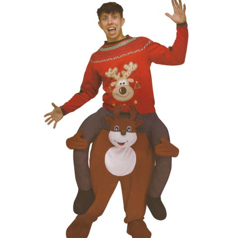 Brown and Red Carry Me Festive Reindeer Adult Costume - One Size