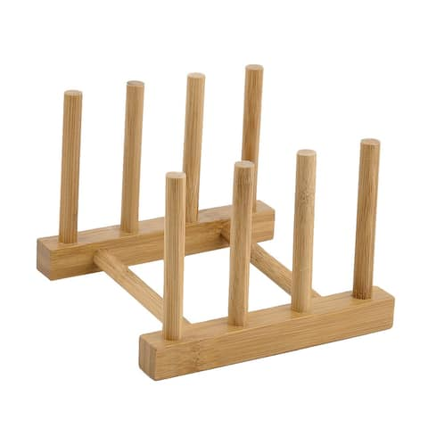 """Kitchen Wood Kitchenware Dish Bowl Plate Holder Organizer Drying Rack - Wood Color - 5.5"""" x 5.3"""" x 4""""(L*W*H)"""