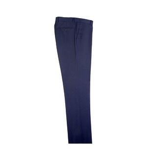 Blue Birdseye Flat Front Dress Pants Pure Wool by Tiglio Luxe
