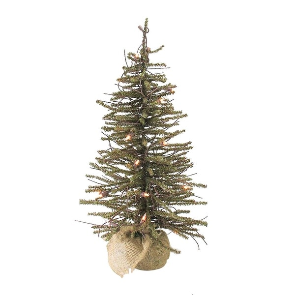 "18"" Pre-Lit Warsaw Twig Artificial Christmas Tree with Burlap Base - Clear Lights"