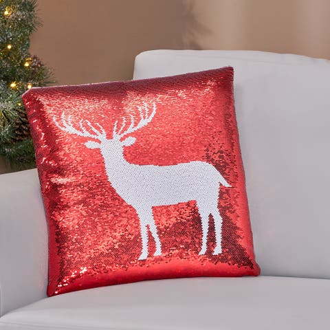 Trimble Glam Sequin Christmas Throw Pillow Cover by Christopher Knight Home