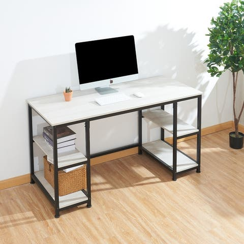 CO-Z 55-inch Industrial Computer Deak Writing Desk with 4 Shelves for Home Office