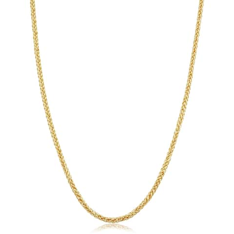Solid 14k Yellow Gold Filled 2.4 millimeter Franco Necklace for Men and Women