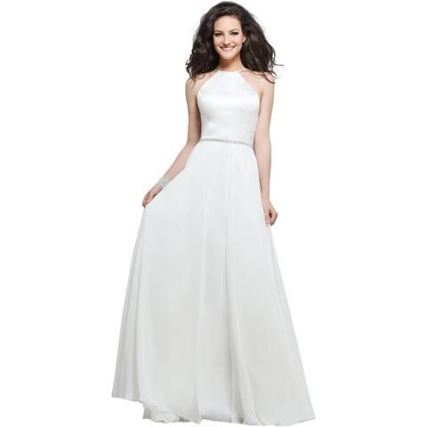 Faviana Womens 7761 Satin Halter Prom Evening Dress