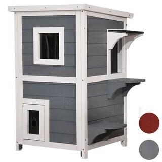 Lovupet 2-Story Weatherproof Wooden Outdoor/Indoor Cat Shelter House Condo with Escape Door 0508