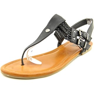 Mia Ivelise Women Open Toe Synthetic Black Thong Sandal