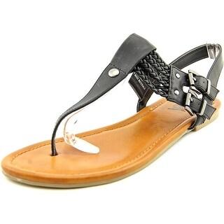 Mia Ivelise Women Open Toe Synthetic Black Thong Sandal