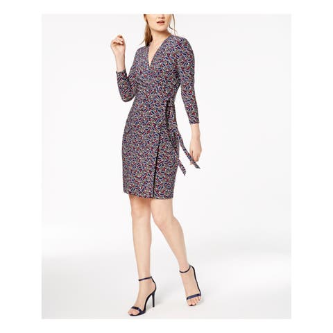 ANNE KLEIN Womens Navy Printed 3/4 Sleeve V Neck Above The Knee Wrap Dress Wear To Work Dress Size: XS